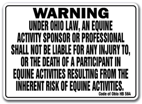 Ohio Equine Sign Activity Liability Warning Statute Horse Farm Barn Stable