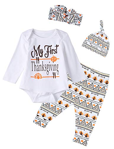 4PCS Baby Boys Girls My First Thanksgiving Outfit Set Long Sleeve Bodysuit (12-18 Months)