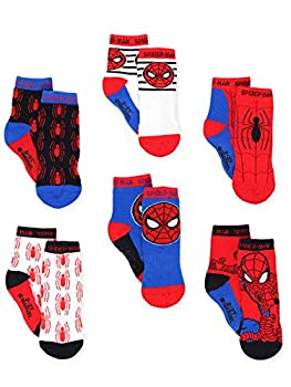 Super Hero Adventures Spider-Man Boys 6 pack Socks with Grippers  4T-5T Red/Blue