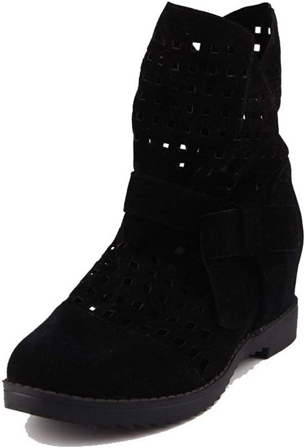 AllhqFashion Women's Frosted Low-Top Solid Pull-On Kitten-Heels Boots, FBUXD025208