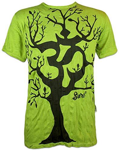 Sure Herren T-Shirt Om Baum des Lebens Aom Symbol Buddhismus Hinduismus Yoga Goa PSY (Neon Grün XL)