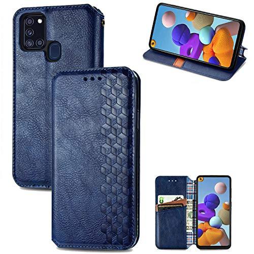 Funda para Samsung Galaxy A21s, funda de silicona de alta calidad, piel sintética, con tapa, magnética, función atril, billetera, piel de cocodrilo, con Galaxy A21s azul 42