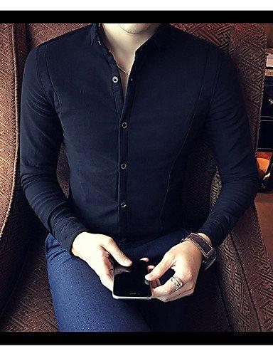HAN-NMC Men's Casual/Simple Quotidienne Printemps Automne Shirt,col Classique Manches Longues Opaque Coton,L,Bleu Marine