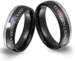 Jewellery Beautiful Silver, 2x Couple's Rings/Friendship Rings Stainless Steel Wedding Band Cubic Zirconia with Personal Laser Engraving 151HDLA–Mila, Ring Size: Ladies 64 & Men 74