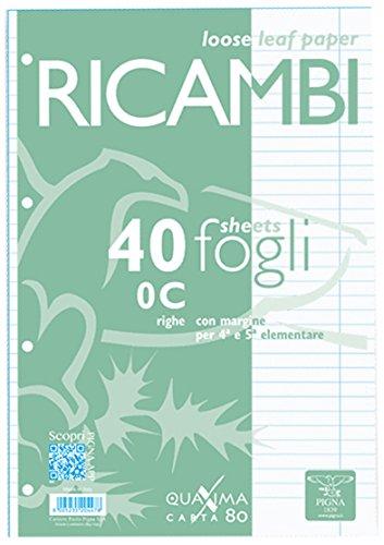 Pigna 00629030C, Ricambio non rinforzato, Rigatura 0C, righe per 4° e 5° elementare, Carta 80g/mq, Pacco da 40 Fogli