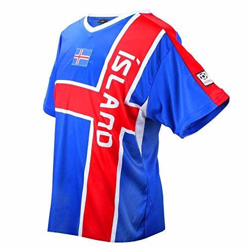 MC-Trend® Island Fussball Trikot Blau Rot Mannschaft Weltmeisterschaft Unisex (M)
