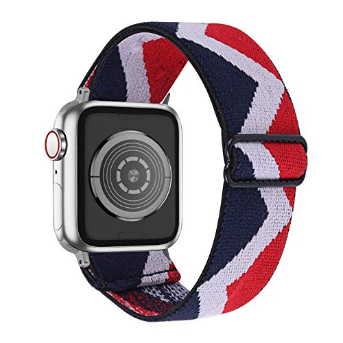 Fhony Correa de Nylon Compatible con Apple Watch Correa 38mm 40mm 42mm 44mm Transpirable Suave Pulsera de Nailon Trenzado de Tela Elástica para Iwatch Series 6/5/4/3/2/1,Blue White Red,38/40mm
