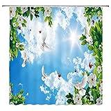 N\A Tauben-Duschvorhang-Dekor Roter Schmetterling Blauer Himmel Weiße Wolkenblumen Grüne Blätter Badezimmervorhang Polyestergewebe Maschinenwaschbar mit Haken