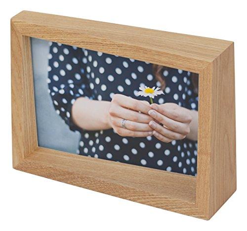 Umbra Edge 10x15 cm Bilderrahmen für Fotos, Kunstdrucke, Illustrationen, Bilder, Graphiken und Mehr – Moderner Wand- und Tisch Fotorahmen aus Eschenholz, Natur