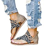 Sfit Damen Sommersandalen Leopard Sommer Schuhe Frauen Open Toe Schnüren Flache Strand Sandalen...
