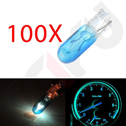 cciyu 100 Pack Blue T5 Mini-Wedge Halogen 37 74 286 LED Interior Light Bulbs Dashboard Incandescent Light