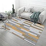 alfombras antiacaros Amarillo Alfombra de Sala de Estar Amarillo Gris borroso Rayas Rayas Retro Alfombra Anti-ácaros Alfombra para habitacion 40X60CM Alfombra Azul Marino 1ft 3.7''X1ft 11.6''
