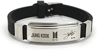 Fanstown BTS Kpop Stainless Steel Silicon Wristband Anti-Rust and Water Prove with lomo