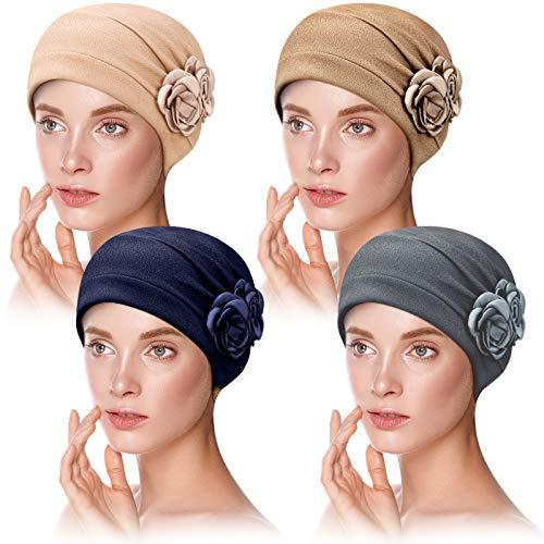 4 Stücke Turban Blumen Set Kopfbedeckung Mütze Turban Schal Kappe Für Damen (Beige, Khaki, Grau, Marineblau)