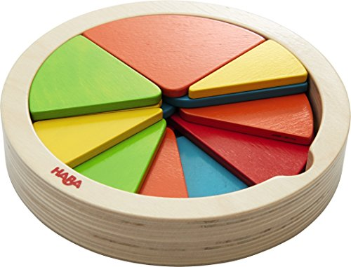 HABA Color Pie - 27 Piece Wooden Arranging Game with Templates for Ages 2+