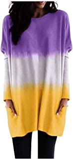 Womens Long Sleeve Tie Dyeing Gradient Tops Round Neck Loose T-Shirt with Pocket Blouse