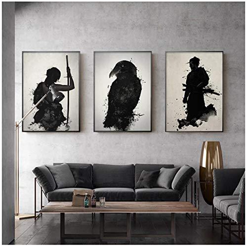 """Impresión en lienzo Póster e impresiones en lienzo de tinta japonesa Samurai Pinturas artísticas de pared en blanco y negro Sala de estar moderna Decoración del hogar 40x60cm/15.7 """"x23.6""""x3 Sin marco"""