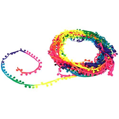 B Baosity Trim Trim Franjesband 11 mm Fringe pompomband decoratielint DIY versieringen – gemengd, 20 yards