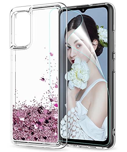 LeYi per Cover Samsung Galaxy A32 4G Custodia Glitter con HD Pellicola Protettiva, Brillantini Silicone Sabbie Mobili Antiurto Bumper TPU Case Donna Ragazza per Samsung Galaxy A32 4G Rosa