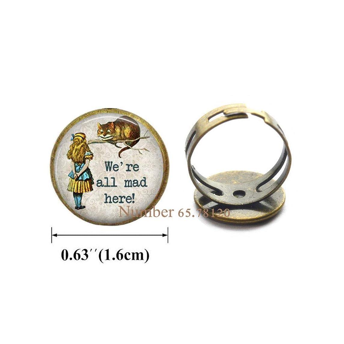 Yijianxhzao We'reAll Mad Here Charm Ring Ring,Birthday Gift,Christmas GiftBV105