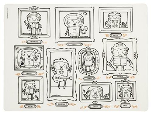 modern-twist MT 011328 Enfants Grand Set de Table Si Je suis avec 4 marqueurs, Silicone, Blanc, 40 x 32 x 1,12 cm