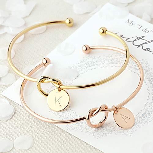 ZCLS, joyería femenina de moda, pulseras con dijes con letras de aleación inicial para mujeres y niñas, brazaletes de oro rosa con lazo y nudo
