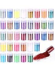 36 Tubos Purpurina para Uñas Purpurina Manualidades Fina Purpurina para Uñas Polvo para Disfraces, Maquillaje y Manualidades, álbumes de Recortes
