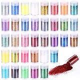 36 Colori Glitter Unghie Polvere Glitter per Unghie Set di Glitter Polvere per Unghie Nail Art, Capelli, Viso, Corpo, Pittura