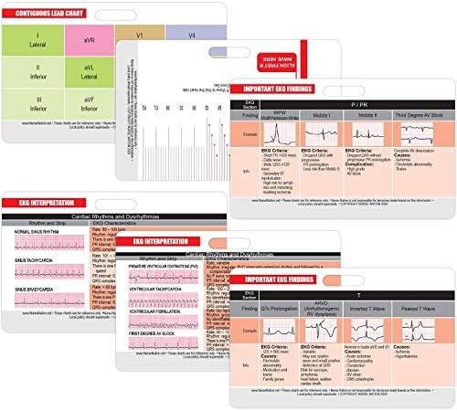 EKG Horizontal Badge 6 Card Set ECG Telemetry Cards with EKG Ruler Electrocardiogram Rhythm product image