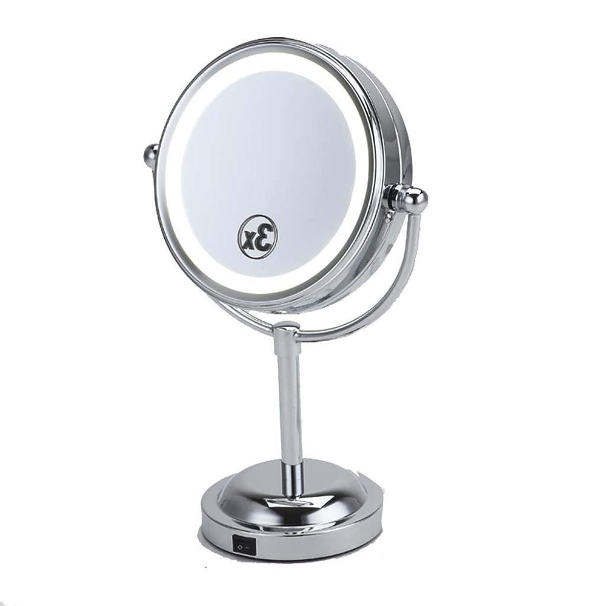 最初はバナー仲間洗面化粧台ミラー 浴室ミラー回転可能な円形の楕円形の形の立場の円形の化粧鏡 - LEDの化粧鏡/虚栄心ミラー 化粧鏡 (Color : Silver, Size : 6 inches)