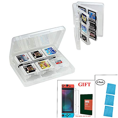 Game Card Storage Case for Nintendo New 2DS XL,New Nintendo 3DS,New 3DS XL,Ultra-Slim Transparent 24 in 1 with 2 Micro SD Card Holders-5x3.5x0.9 Inches&Tempered Glass Nintendo Switch Screen Protector