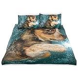 Bennigiry Border Collie Bettwäsche-Set, Motiv Hund Unterwasser, niedliches Tiermuster, Bedruckt, 3-teilig, Rückseite aus Baumwolle, Grau für Kinder (1 Bettdeckenbezug, 2 Kissenbezüge)