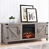 CHADIOR Farmhouse Barn Door Stand and Electric Fireplace, Fit up to 65' Flat Screen TV with Storage Cabinet and Adjustable Shelves Entertainment Center for Living Room, Grey Wash