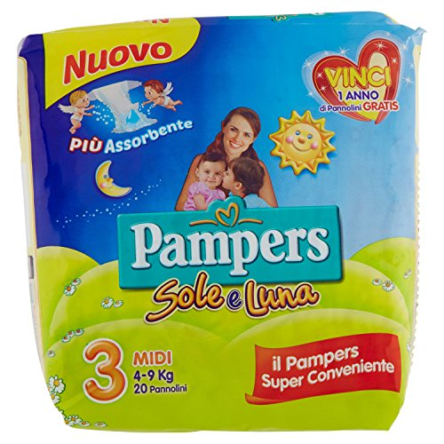 Pampers - Sole e Luna - Pañales - Talla 3 (4 - 9 kg) - 20 pañales
