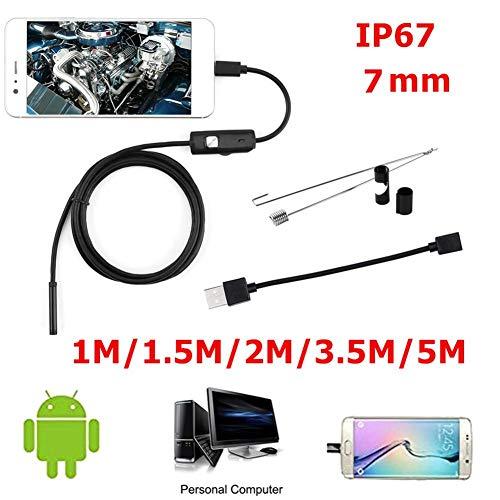 5M Cable Suave Inspecci/ón Borescope para Android PC 3.5 Teabelle 7mm Endoscopio 30W C/ámara HD USB Endoscopio con 6 LED 1//1.5//2
