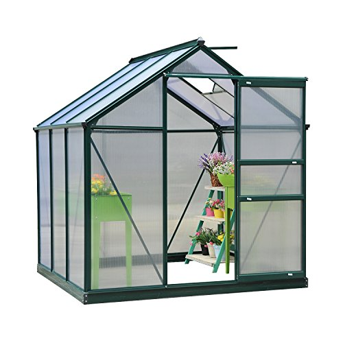 Outsunny Clear Polycarbonate Greenhouse Large Walk-In Green House Garden Plants Grow Galvanized Base Aluminium Frame w/Slide Door (6ft x 6ft)