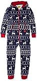Tipsy Elves Men's & Women's Cozy Christmas Sweater Party - Fair Isle Blue Adult Cozy Jumpsuit M