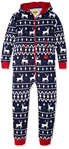 Tipsy Elves Men's & Women's Cozy Christmas Sweater Party - Fair Isle Blue Adult Cozy Jumpsuit S