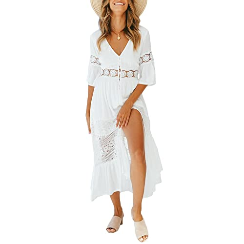 344cf32f3124 Ufatansy Women s Summer Dresses Lace Long Sleeves Off Shoulder Dress White Beach  Dress Swing Boho Dress