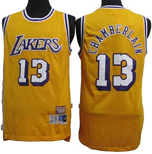 XHDH Jerseys De Baloncesto De Los Hombres - NBA Lakers Jersey # 13 Chamberlain Transpirable Chaleco Uniformes Classic Comfort Camiseta Sin Mangas Tops Tops Sportswear,Amarillo,XL 180~185cm