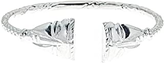 Solid .925 Sterling Silver African Mask West Indian Bangle (Made in USA)