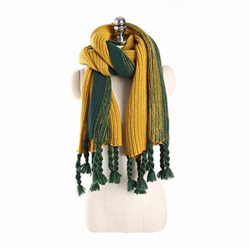 la Bufanda de la Moda Del Otoño Y Del Invierno Golpea la Franja Del Gradiente Del Color la Bufanda de Lana de Punto Caliente Gruesa , olivino