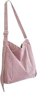 Fanspack Women's Crossbody Shoulder Tote Corduroy Adjustable Strap Messenger Bag  Light Pink