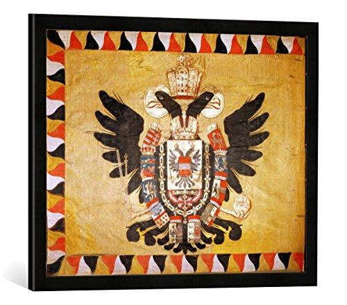 Gerahmtes Bild von 18. Jahrhundert Österr.kaiserl.Standarte 18.Jh, Kunstdruck im hochwertigen handgefertigten Bilder-Rahmen, 70x50 cm, Schwarz matt