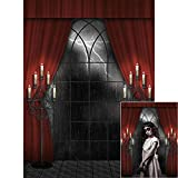 BDDFOTO 1.5 * 2m Halloween Hintergrund Fotografie Hintergrund Rot Vorhang Muster für Baby, Neugeborene, Kinder, Objekte Fotografie Video Studio