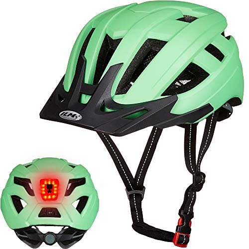 ILM Adult Cycling Bike Helmet with LED Rear Light Lightweight for Men Women Urban Commuter MTB Bicycle (Green, L/XL)