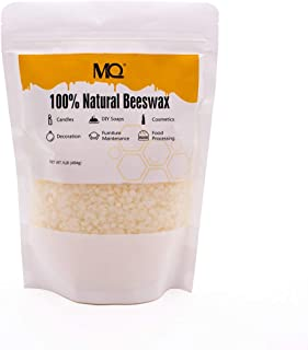 MQ Organic Beeswax Pellets 2 lb/32 oz Natural Pure Cosmetic Grade Triple Filtered Beeswax for DIY Lip Balm, Creams, Lotions, Soaps and Candles (White)