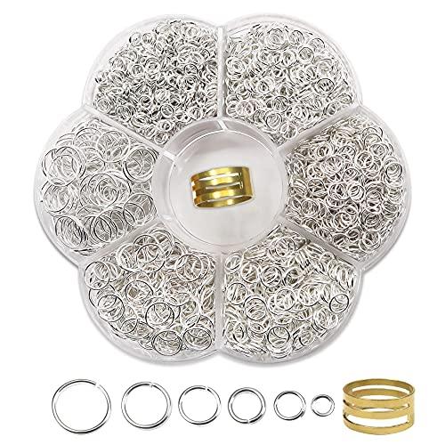 TOAOB 1500 Piezas 4 a 10 mm Mixto Tamaño Plata Anillos de Salto Abiertos de Metal para Fabricación de Joyas Accesorios de Bisutería para Gargantilla Pulseras Collares Pendientes