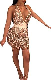 Women Mesh Sheer V Neck Sequin Beaded Halter Bodycon Mini Nightclub Dress