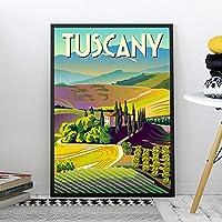 Hdプリントレトロアート絵画トスカーナヴィンテージポスターとプリント旅行都市風景壁アート写真寝室家の装飾50X70cm20x28inchフレームなし